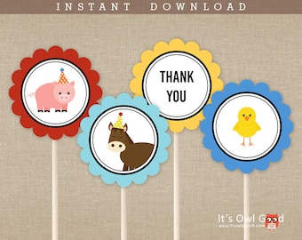 FARM ANIMALS Favor Tags or Cupcake Toppers - Barnyard Animals Party - Set of 4 Unique Designs - Printable Instant Download