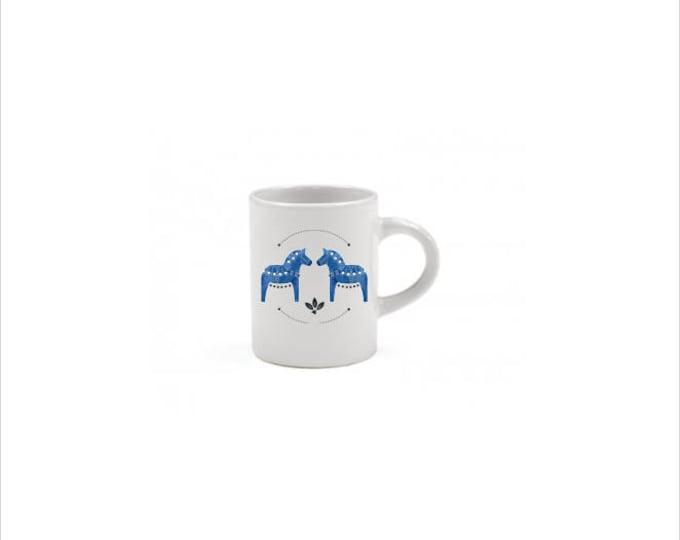 Cobalt Dala Horse Espresso Mug