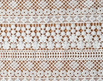 Floral Guipure Lace fabric, elegant Flower Embroidery, Chemical Lace Fabric,White Lace Fabric,little flower lace -140CM