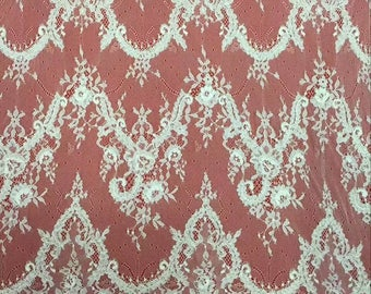 Corded eyelash  Lace Fabric, 59 inches Wide Chantilly lace  for Veil, Dress, Costume, Craft Making-corded Lace, off white lace-7070C