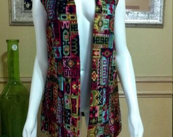 Vintage 60s Colorful Chenille Long Vest/ Boho Floral Vest/ Long Hippie Vest/ Psychedelic Chenille Vest/Tapestry vest XS/S