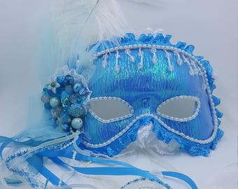 Mermaid Blue Masquerade Mask. WEARABLE!!! Soft inside,wedding party, EASY halloween costume, match your clothes.PROM dances.Display on wall.