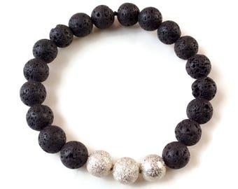 Lava Bead Silver Beads Men Bracelet, Beaded Bracelet, Lava Rock Bracelet, Essential oil bracelet, Diffuser Bracelet, Lava Stone, Stardust