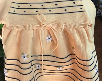 1970s Girl's Knit Polyester, Yellow Dress.