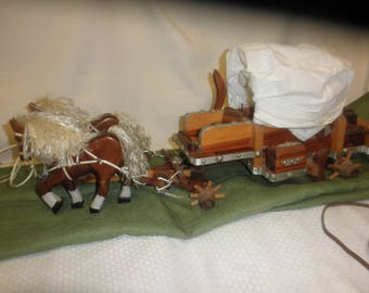 Vintage Covered Wagon with Light Handmade