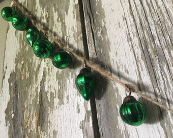 Hand Strung Green Mini Mercury Glass Ornament Garland