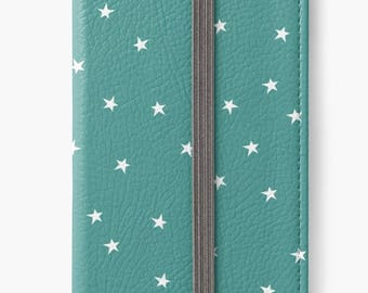 Folio Wallet Case for iPhone 8 Plus, iPhone 8, iPhone 7, iPhone 6 Plus, iPhone SE, iPhone 6, iPhone 5s - Turquoise and white star pattern