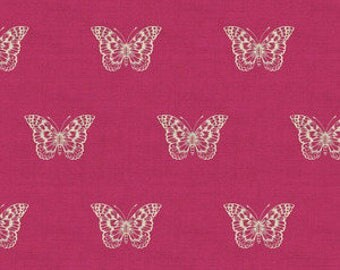 Botanica by Makower for Andover Fabrics - Butterfly in Pink - Fat Quarter