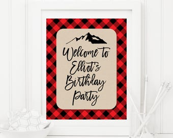 Personalized Welcome Sign, Buffalo Plaid Birthday Party Sign, Boy's First Birthday, Lumberjack, Red and Black Plaid, Custom Name 20B