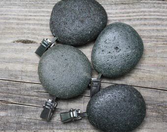 Tablecloth weights, Lake Superior rock table cloth weights, flag weights, stone picnic tablecloth holders, raw stone accents, camper gear
