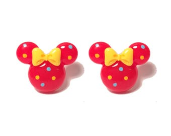 "Handmade Confetti Minnie"" Red Minnie Mouse Inspired Earrings with Blue and Yellow Dots and Yellow Bow"