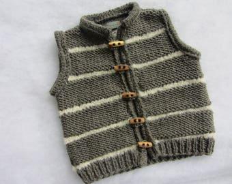Hand knitted merino baby vest/body warmer. Size 12-18 months.