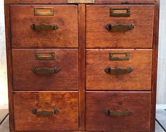 Antique Library Bureau Sole Makers 6-Drawer Tiger Oak File Card Cabinet c. 1900 **FREE SHIP**