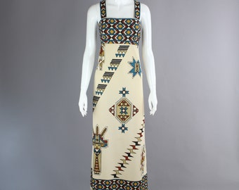 1970s Alfred Shaheen Dress Native american indian print maxi gown festival 12