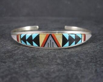 Vintage Zuni Inlay Cuff Bracelet 6 Inches