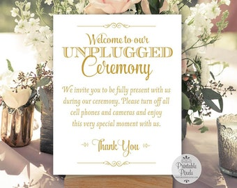 Unplugged Ceremony Printable Wedding Sign, Gold Matte Lettering (#UN13G)