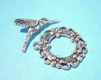 50% OFF Clearance Sale-- Antique Silver Toggle Clasp 28mm Hummingbirds Toggle Clasp
