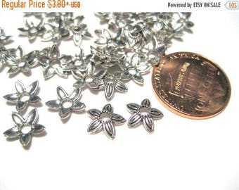 50% OFF Clearance Sale-- Antique Silver Flower Bead caps 8mm