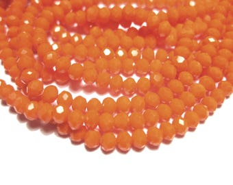 1 Strand Orange Faceted Imitation Jade Glass Beads 3mm( No.25)