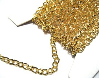 30Ft Spool Gold Tone Iron Side Twist Chain Links-Opened ( NO.9GFF)