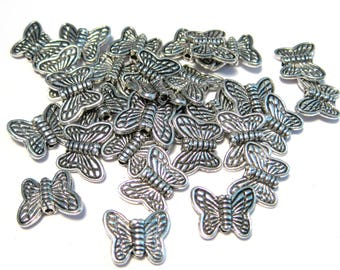 20pcs Antique Silver Butterfly Metal Spacer Beads 10x8mm Butterfly Spacer Bead