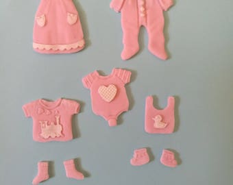 Edible Fondant baby clothes set. Cakes cupcakes cookies cakepops toppers and decoration