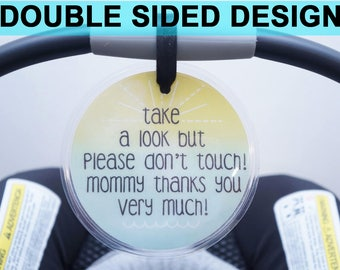 Preemie sign, newborn, baby car seat tag, baby shower gift, stroller tag, baby Preemie no touching car seat sign- LAMINATED TAG