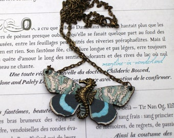 beige and turquoise Butterfly bronze seahorse necklace