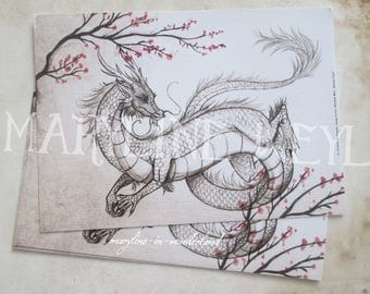1 x card postcard gray Chinese Dragon