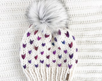 Faux Fur Pom Pom, Hand Knit Chunky Hat, Chunky Knit Fairisle Beanie, Knit Pom Pom Hat / / THE MINNEHAHA, Ready to Ship