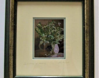 Loes Agoust original small flower painting Snowdrops at evening framed posts worldwide