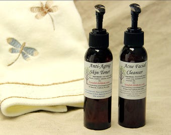 HERBAL CLEANSER & TONER Gift Set - Natural Face Wash and toner, herbal infusion, carrot seed, frankincese essential oils, 100% natural