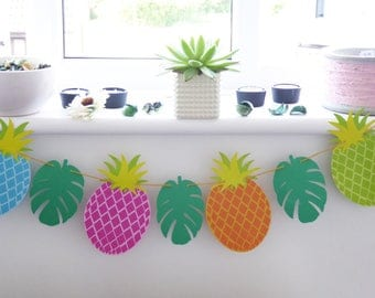 Pineapple bunting banner garland, tropical leaf pineapple summer party, birthday decor, baby shower, photo prop