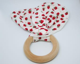 Strawberry Baby Gift, Strawberry Baby Toy, Teething Ring, Bunny Ear Teething Ring, Wooden Teething Ring, Strawberry Print, Baby Shower Gift