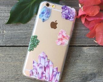 Crystal Formations iPhone Case, Your choice of Soft Plastic (TPU) or Wood
