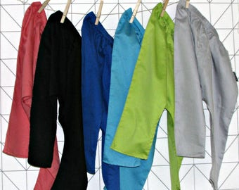 Satin cotton harem pants, sarouel for babies and toddlers
