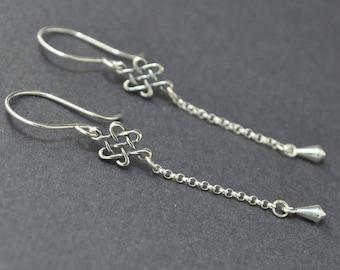 Sterling Silver Dangle Earrings, Silver Chain Earrings, Silver Tear drop, Celtic Knot,