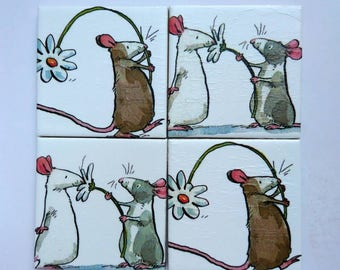 Set of 4 Handmade Coasters. Ceramic Tiles, Decoupaged, Felt Back. Mice, Rats, Daisy, White, Grey, Brown. Water Resistant and Heatproof.