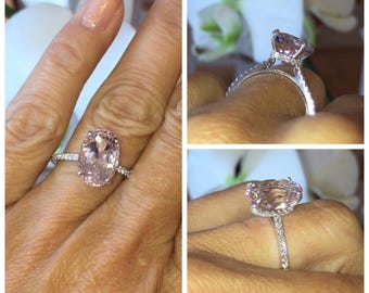Pink Oval Morganite Wedding Ring 3.72ct Oval Shape .79ct Genuine Diamonds Art Deco Micro Pave Hidden Halo ring Pristine custom Rings