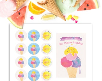 Ice Cream Party Package - Ice Cream Birthday Party - Make Your Own Sundae Bar - Printable Sundae Sign - Ice Cream Thank You Tags - Stickers