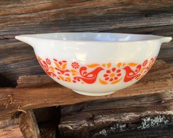 Friendship Birds, Pyrex 443, 2.5 Quart, Cinderella Handles, Mixing Bowl, Vintage 1970s, Rare Pyrex