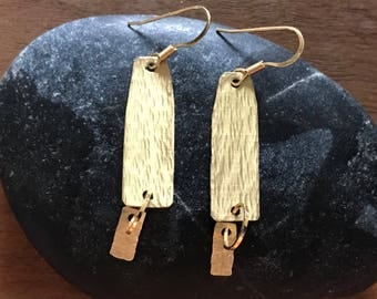 Gold tone hammered earrings