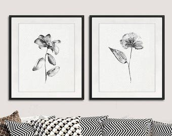Gray decor, black flowers print, watercolor flowers painting print, black white decor, living room wall decor, set of 2 prints - N55/56
