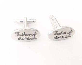 Father of the Bride Cufflinks, Wedding Cufflinks, Silver Plated, Word Cufflinks, Wedding Jewellery, Cufflinks for Wedding
