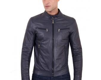 Genuine leather biker jacket, korean collar, smooth soft lamb leather, blue color