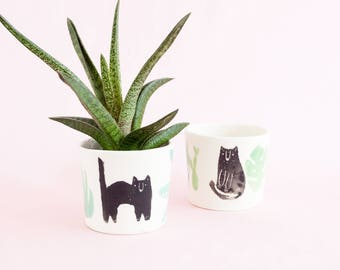 Miso Cats and houseplant big mug or small planter - black cats with plants ceramic cup for tea, coffee and indoor or outdoor house plants