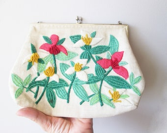Hand Embroidered White Clutch Purse With Flowers, Kiss lock Frame Red yellow