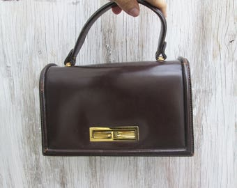 Vintage Leather Tano Top Handle Clutch Accordian Bag