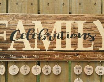 Birthday Calendar, Family Birthday Board Calendar, Wood Family Calendar Board, Celebrations Board, Wooden Calendar - Aged Wood Look