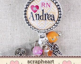 Personalized RN Nurse Name Badge Reel, Cute Orange Chevron Nurse Name Badge, Medical Hospital Staff ID Badge, Custom Nurse Graduation Gifts